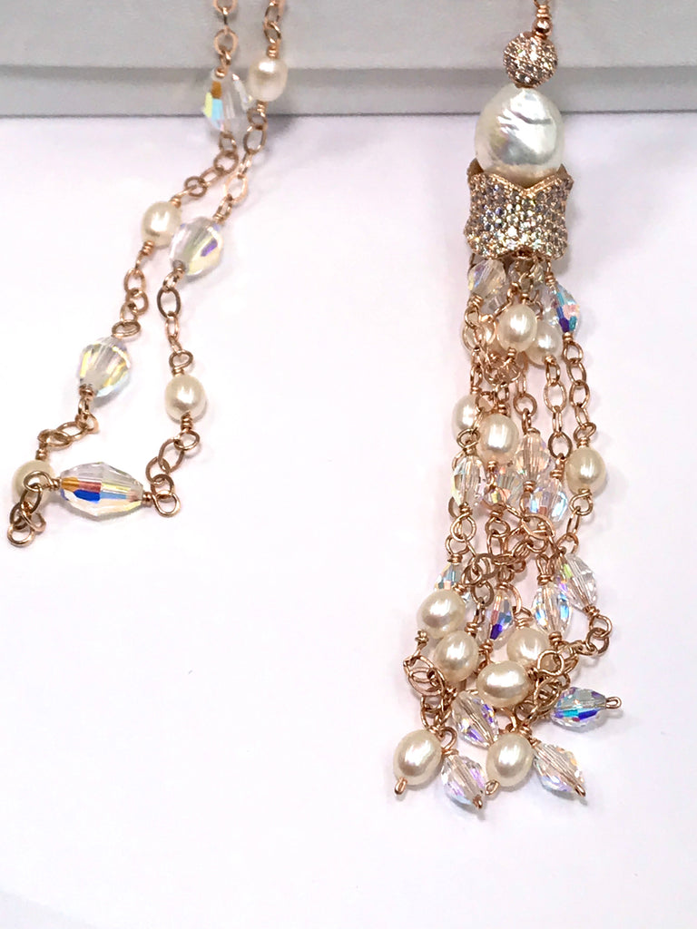 Rose Gold, Pearl and Swarovski Crystal Tassel Necklace - doolittlejewelry