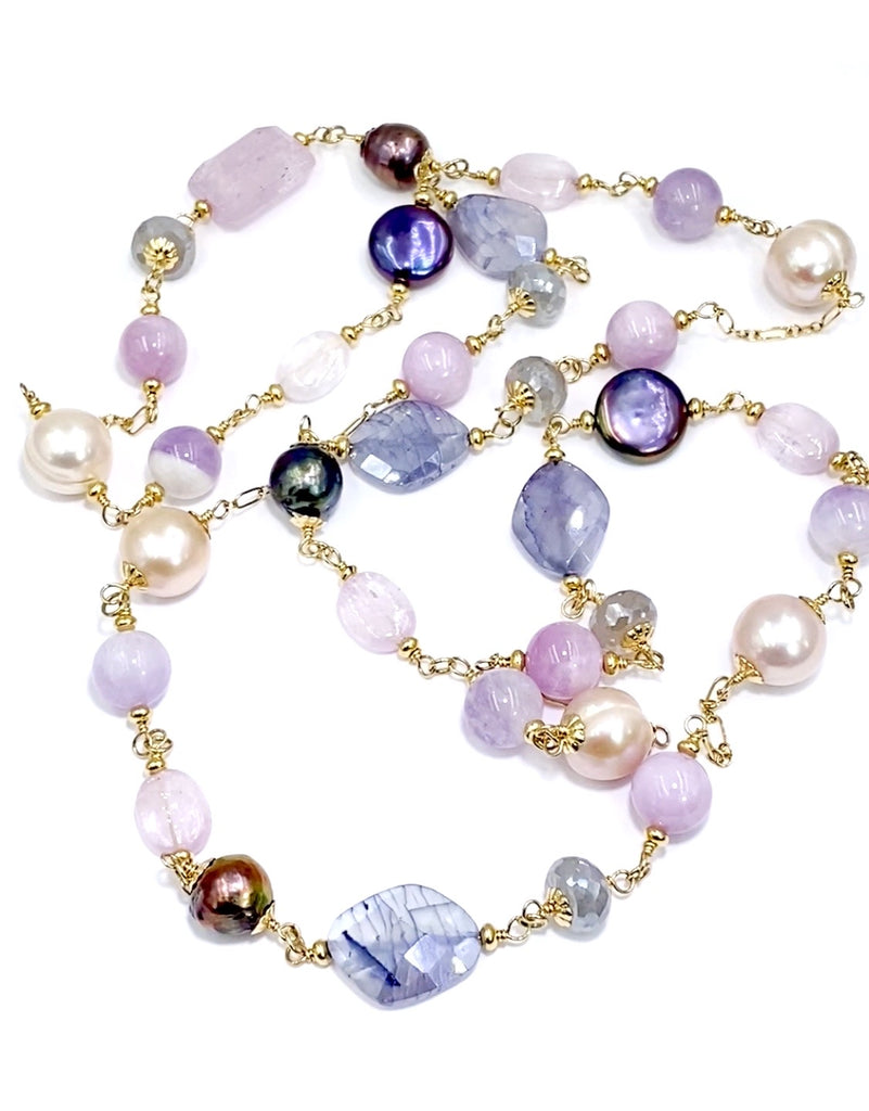 Long Multicolor Gem Stone Necklace Gold Kunzite, Blue Sapphire, Moonstone, Pearl