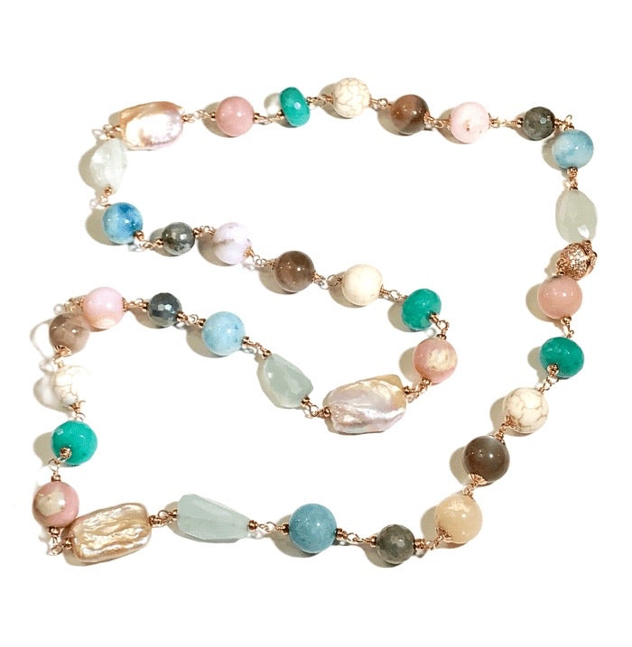 Multi-color Gemstone Pearl Necklace Wire Wrapped Rose Gold