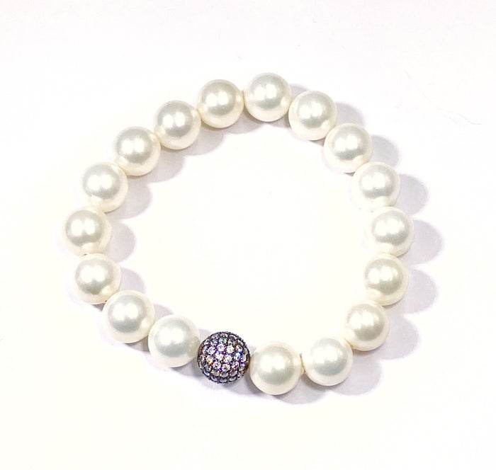 White Pearl Stretch Stacking Bracelet with Oxidized Silver Clear Pave CZ Bead