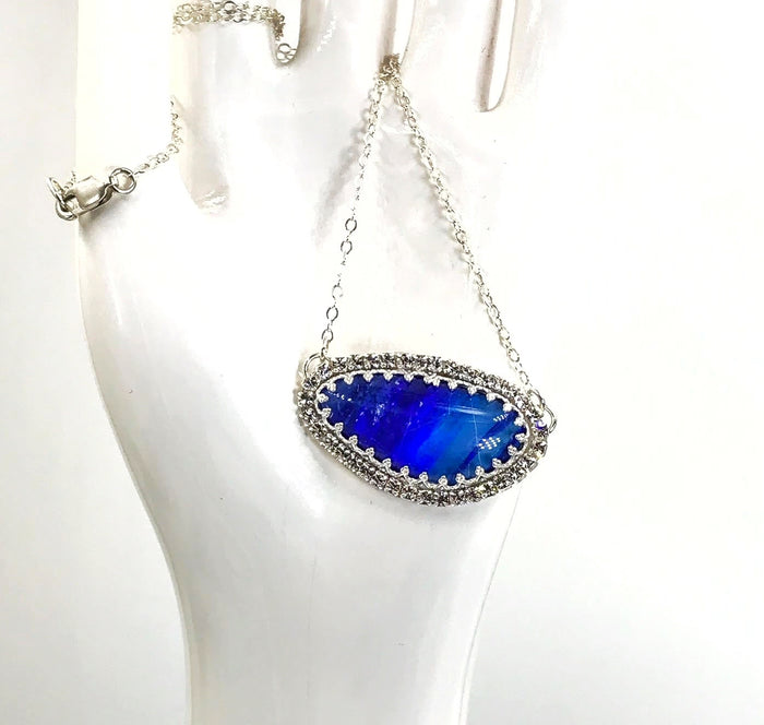 Australian Opal Rare Blue Purple Necklace Sideways Pendant