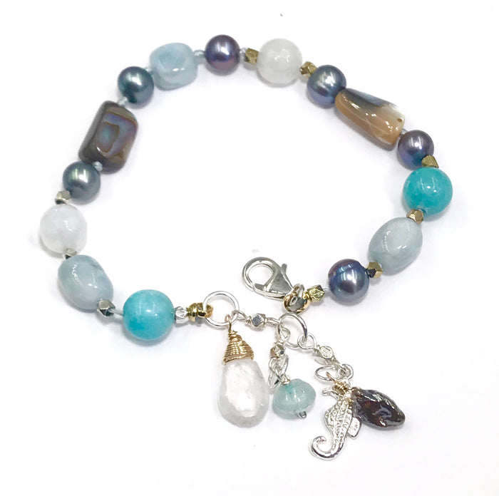 Abalone Silk Knotted Bracelet, Moonstone, Aquamarine, Pearl - doolittlejewelry