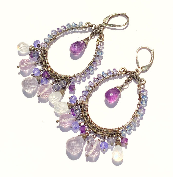 Amethyst Moonstone Oxidized Sterling Silver Hoop Earrings - doolittlejewelry