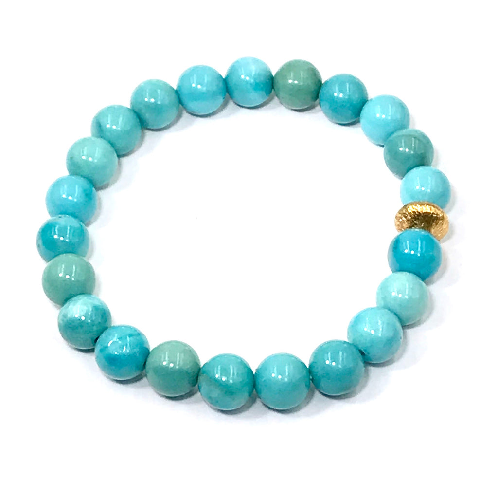 Blue Turquoise Beaded Stretch Stacking Bracelet with Gold Bead - doolittlejewelry