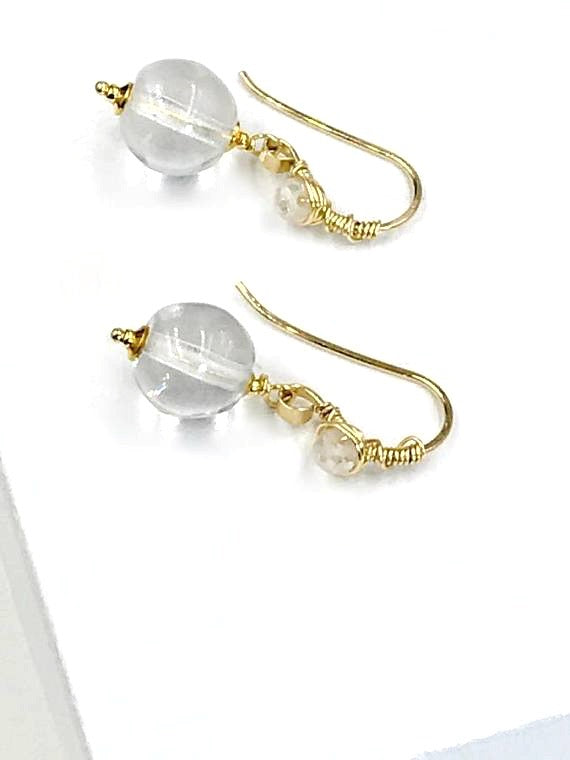 Simple Clear Quartz Drop Earrings