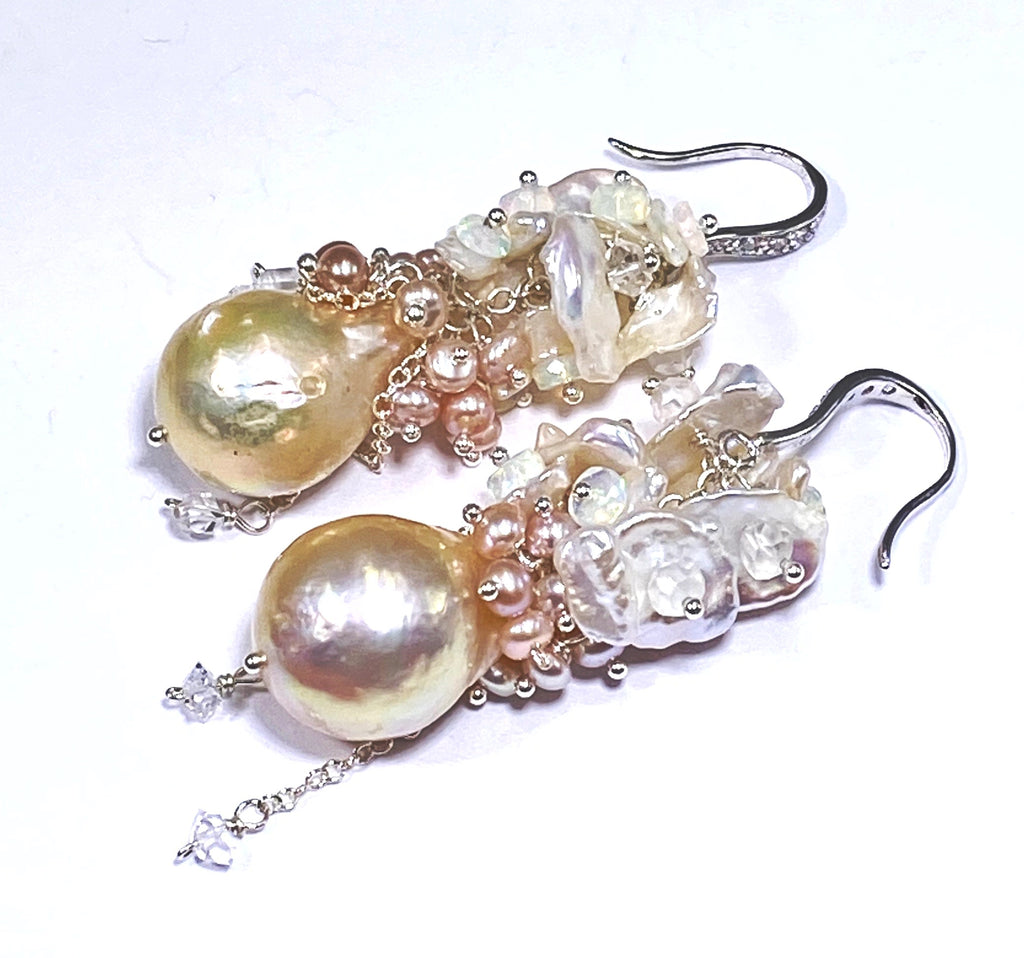 Blush Pearl Cluster Bridal Earrings Sterling Silver
