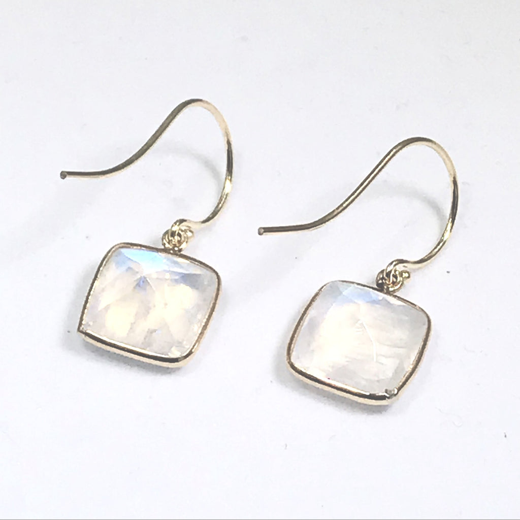 14kt Solid Gold Rainbow Moonstone Drop Dangle Earrings - doolittlejewelry
