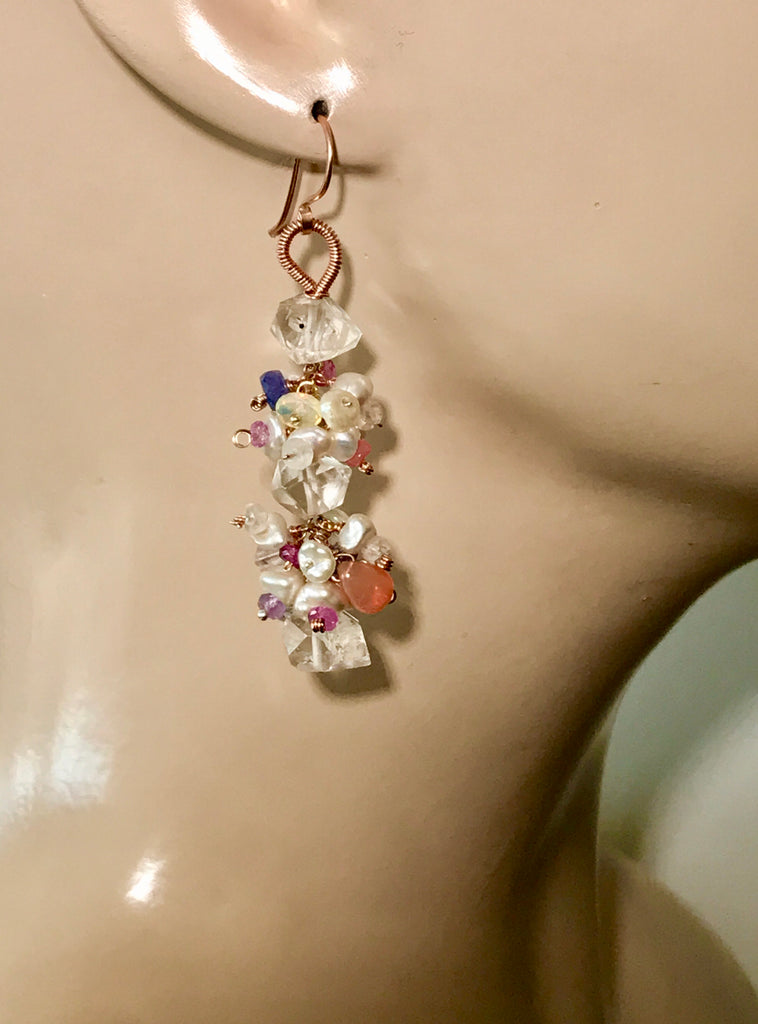 RESERVED - Herkimer Diamond Dangle Earrings Keishi Pearl Opal Gem Clusters - doolittlejewelry