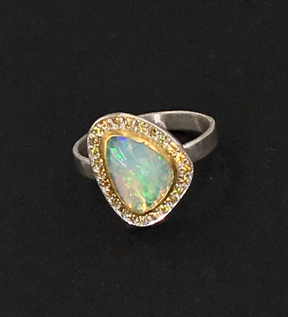 Opal and Yellow Sapphire Ring in 22kt Gold and Sterling Silver - doolittlejewelry