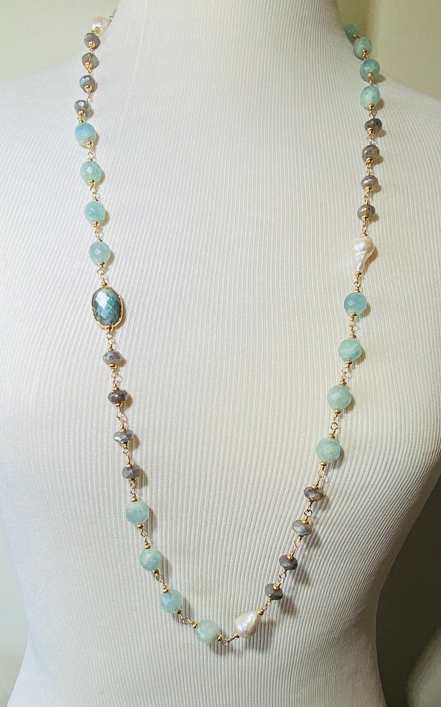 Beaded Gemstone Long Wire Wrapped Necklace Labradorite, Aquamarine, Pearl - doolittlejewelry