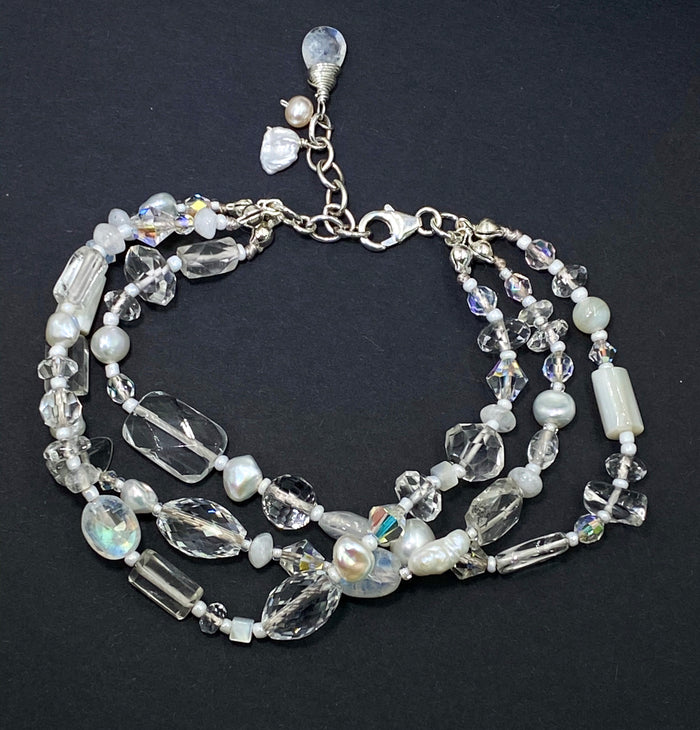 Pearl Moonstone Crystal Bridal Bracelet White Wedding Jewelry - doolittlejewelry