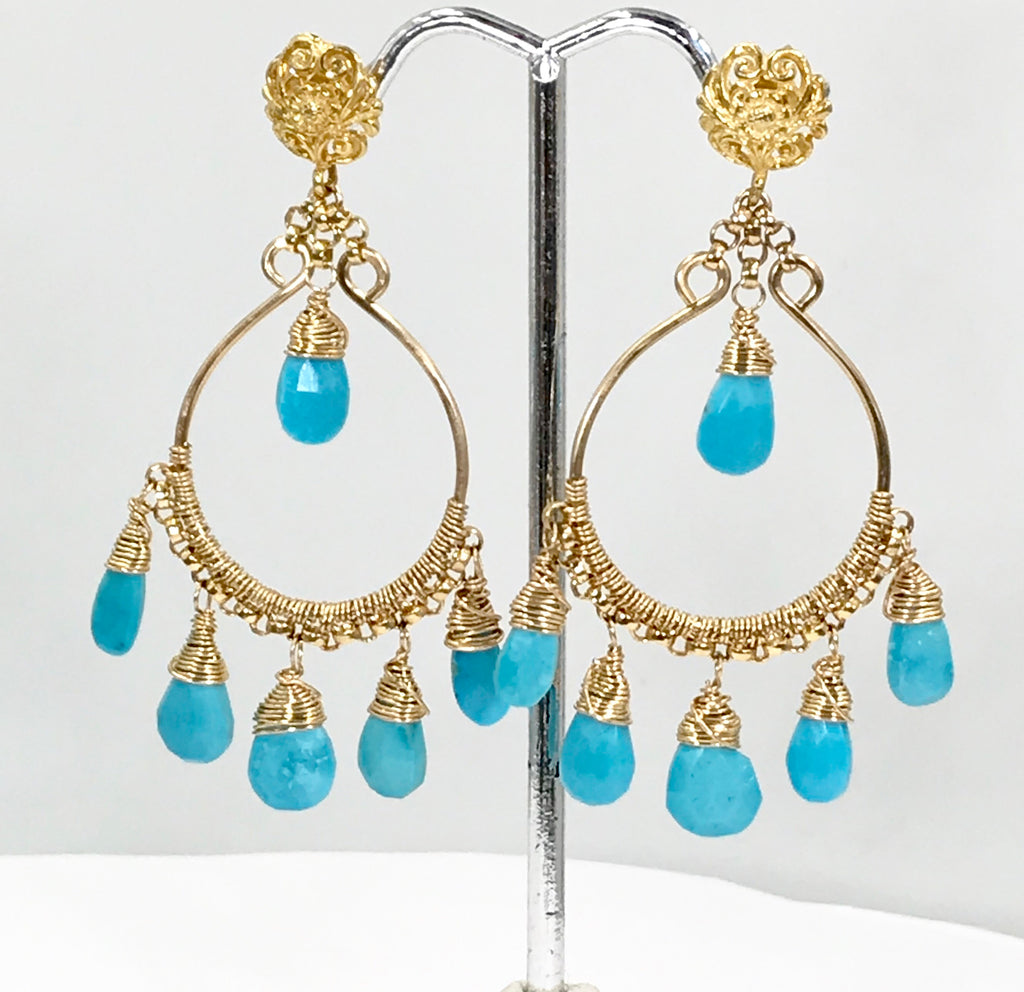Kingman Turquoise Gold Fill Hoop Chandelier Earrings - doolittlejewelry