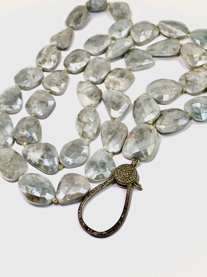 Diamond Clasp Long Boho Necklace Mystic Silver Grey Sapphire Slices - doolittlejewelry