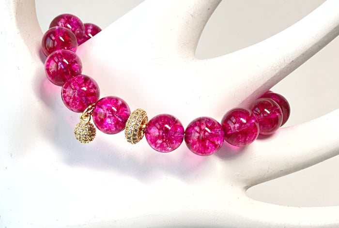 Hot Pink Quartz Gold Pave CZ Stretch Stacking Bracelet