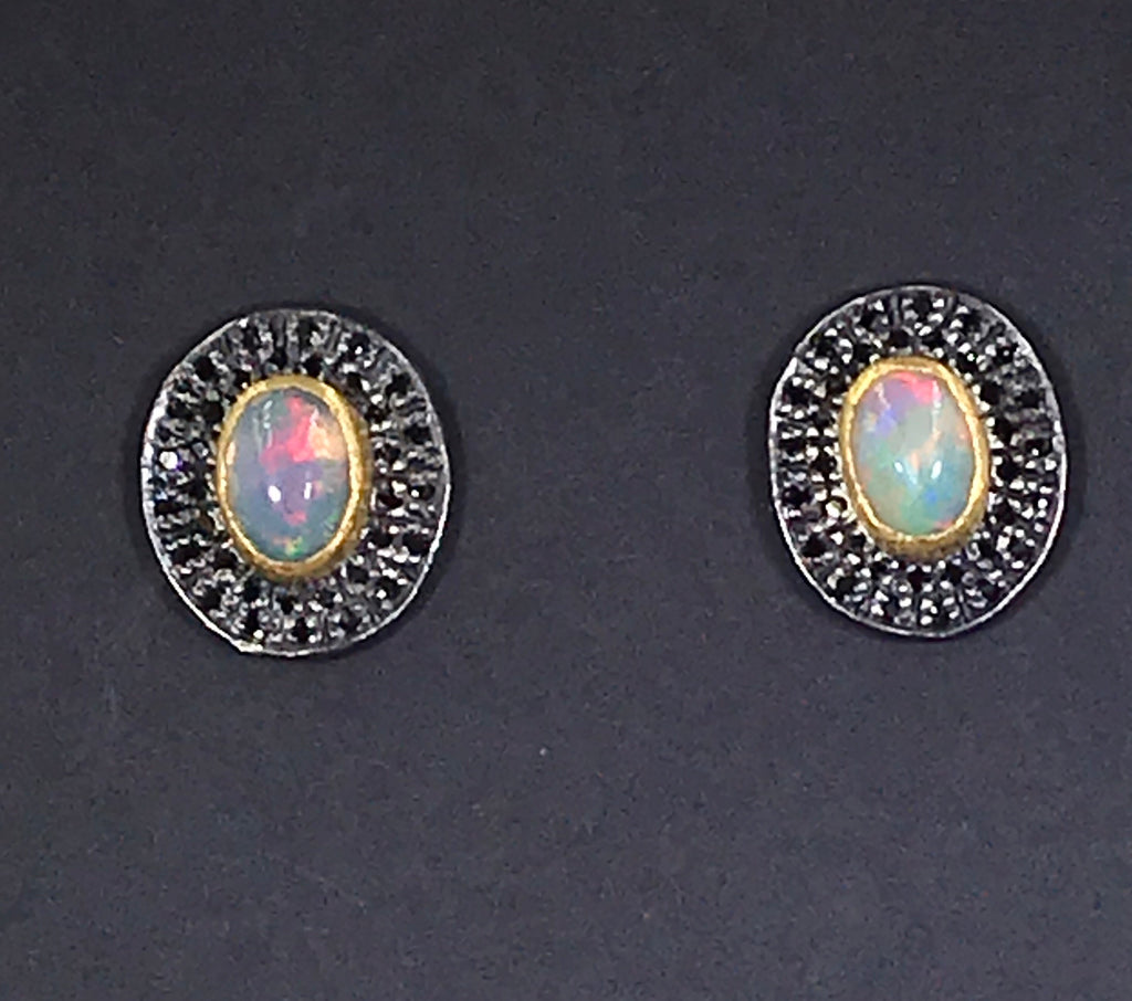 Opal and Pave Black Spinel Post Stud Earrings - doolittlejewelry