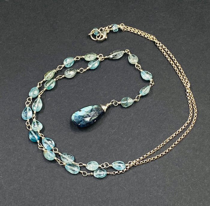 Labradorite and Natural Blue Zircon Y Necklace Sterling Silver - doolittlejewelry