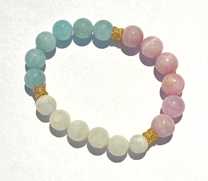 Aquamarine, Kunzite, Moonstone Stacking Stretch Bracelet