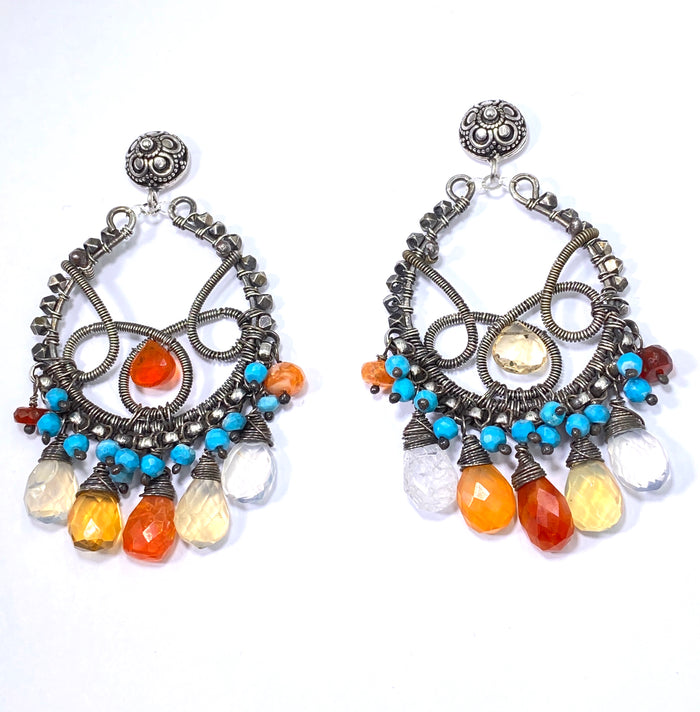 Luxury Gemstone Chandelier Mexican Fire Opal Turquoise Hoop Earrings - doolittlejewelry
