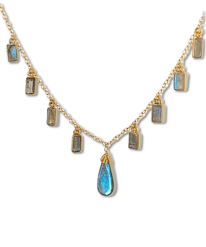 Labradorite Dangle Necklace Gold Fill Boho Style - doolittlejewelry