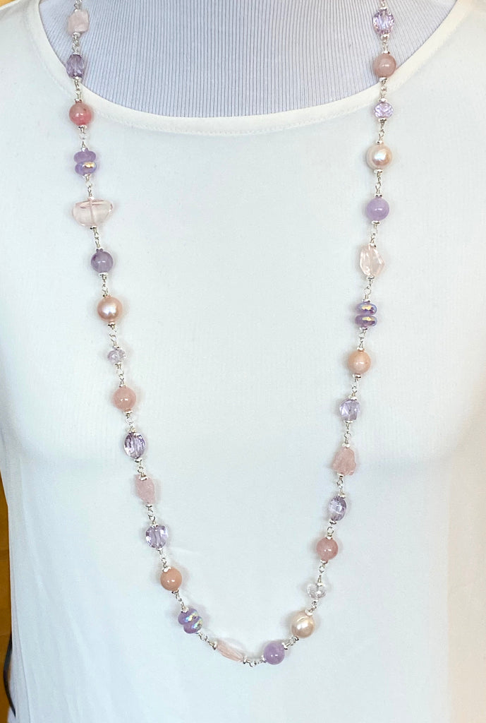 Long Sterling Silver Gemstone Pearl Necklace Lavender Amethyst Rose Quartz - doolittlejewelry