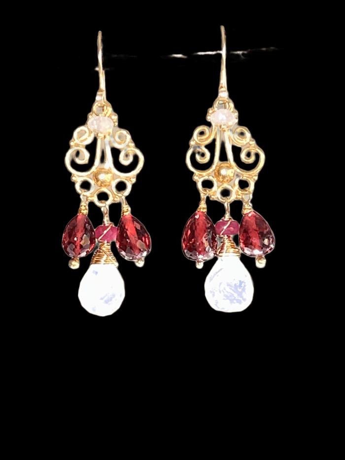 Garnet and Rainbow Moonstone Gold Chandelier Earrings - doolittlejewelry