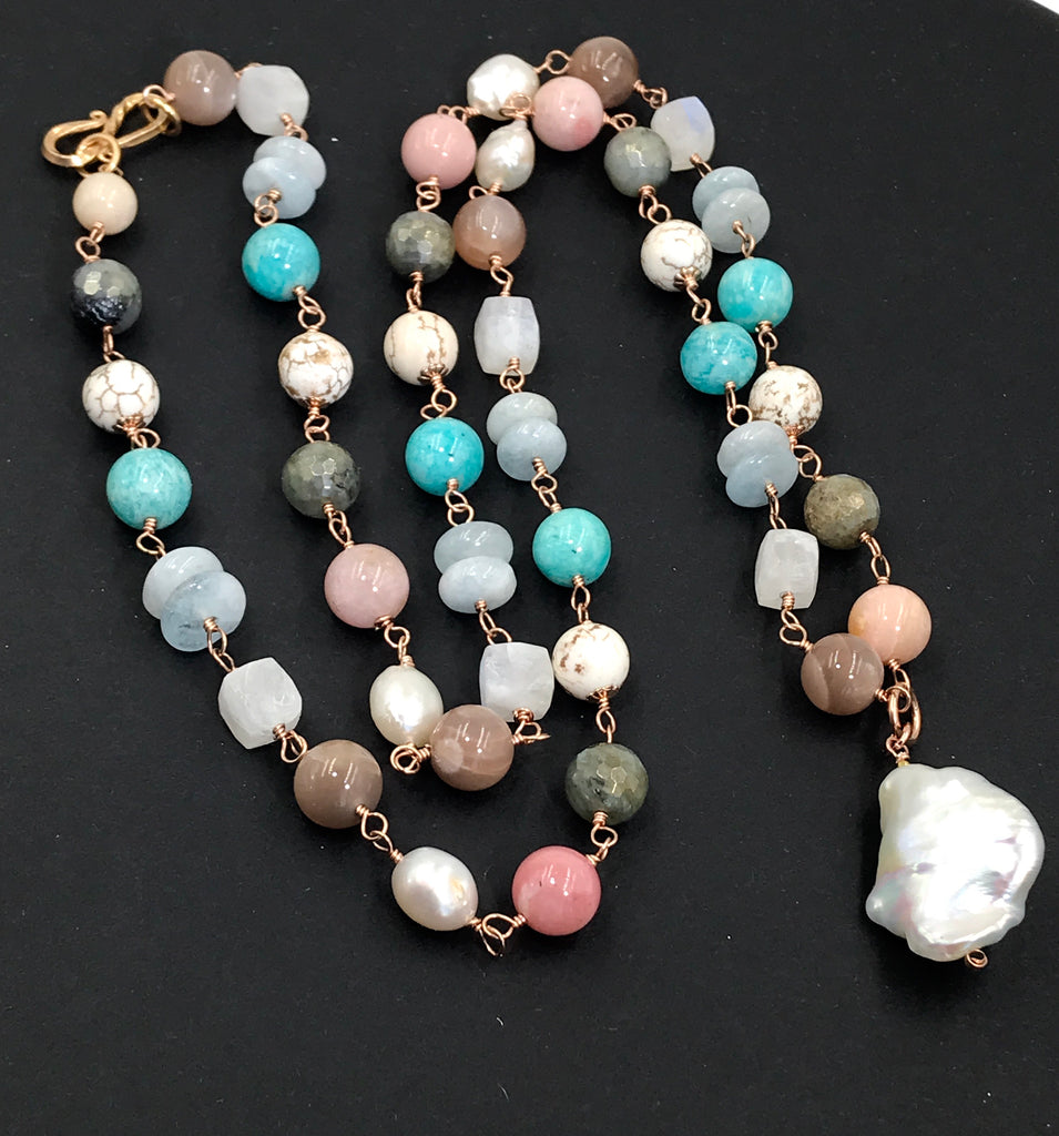 Multicolor Gemstone Pearl Long Necklace Rose Gold Fill Wire Wrap Rosary Style - doolittlejewelry