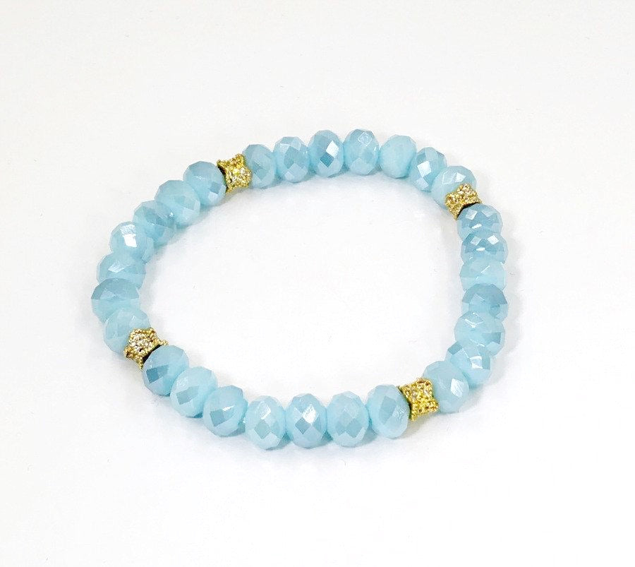 Moonstone Light Blue Crystal Layering Bracelets