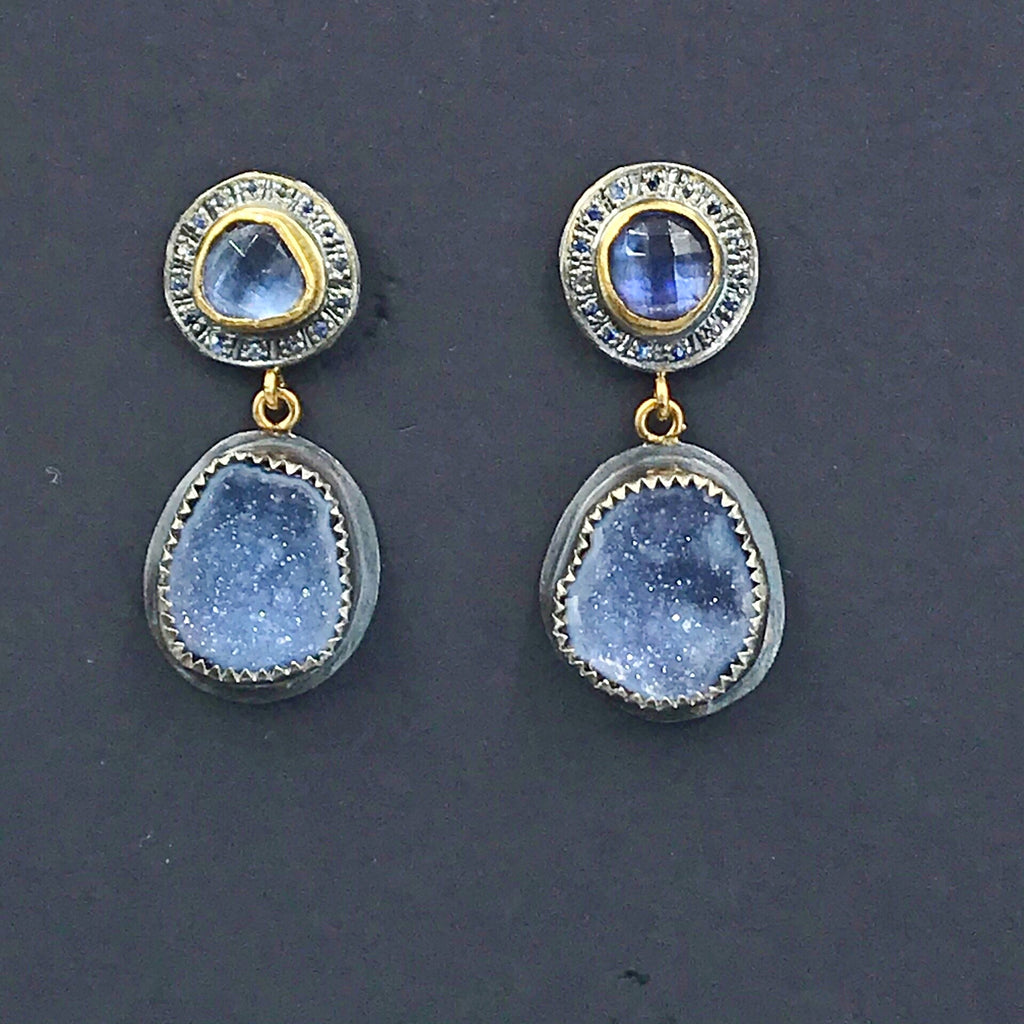 Tanzanite and Blue Geode Earrings with Pave Blue Sapphire Mixed Metal
