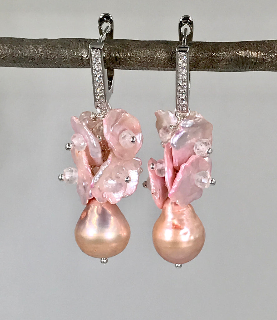 RESERVED - Blush Keishi Pearl Cluster Wedding Earrings Sterling Silver - doolittlejewelry