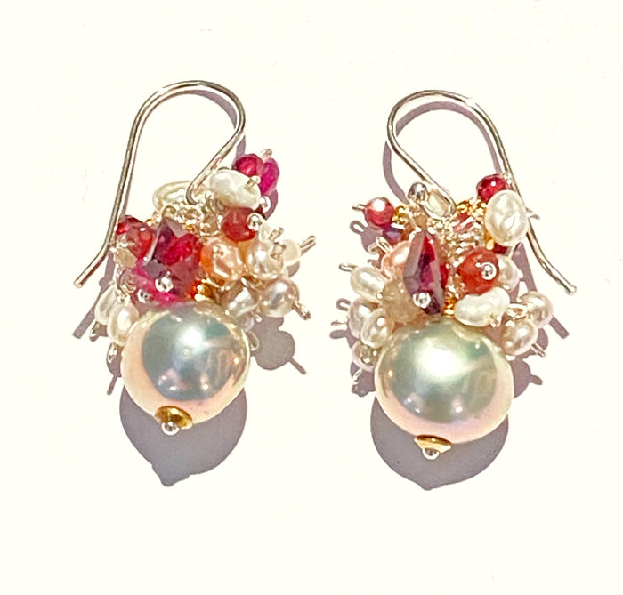Silver Gray Platinum Pearl Cluster Earrings Garnet Ruby Sapphire
