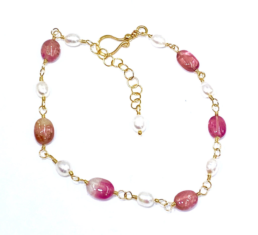 Pink Tourmaline and Pearl Gold Fill Wire Wrapped Bracelet Adjustable