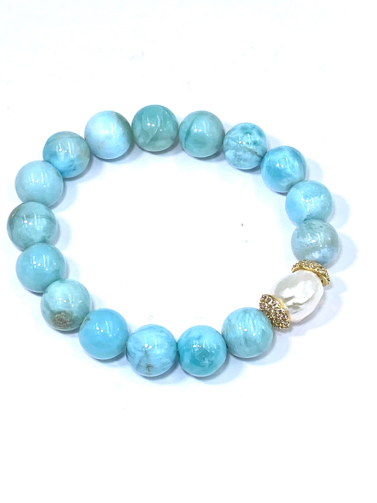 Larimar and Pearl Pave CZ Gold Stretch Stacking Bracelet - doolittlejewelry