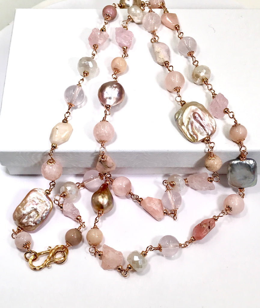 Long Multi Gemstone Necklace Rose Gold Blush Pearl Morganite Pink Peru Opal - doolittlejewelry