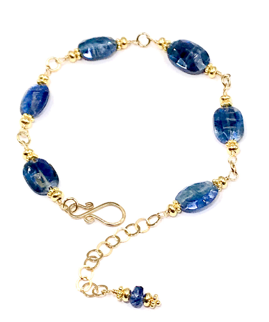 Blue Kyanite Bracelet Gold Fill Wire Wrapped - doolittlejewelry