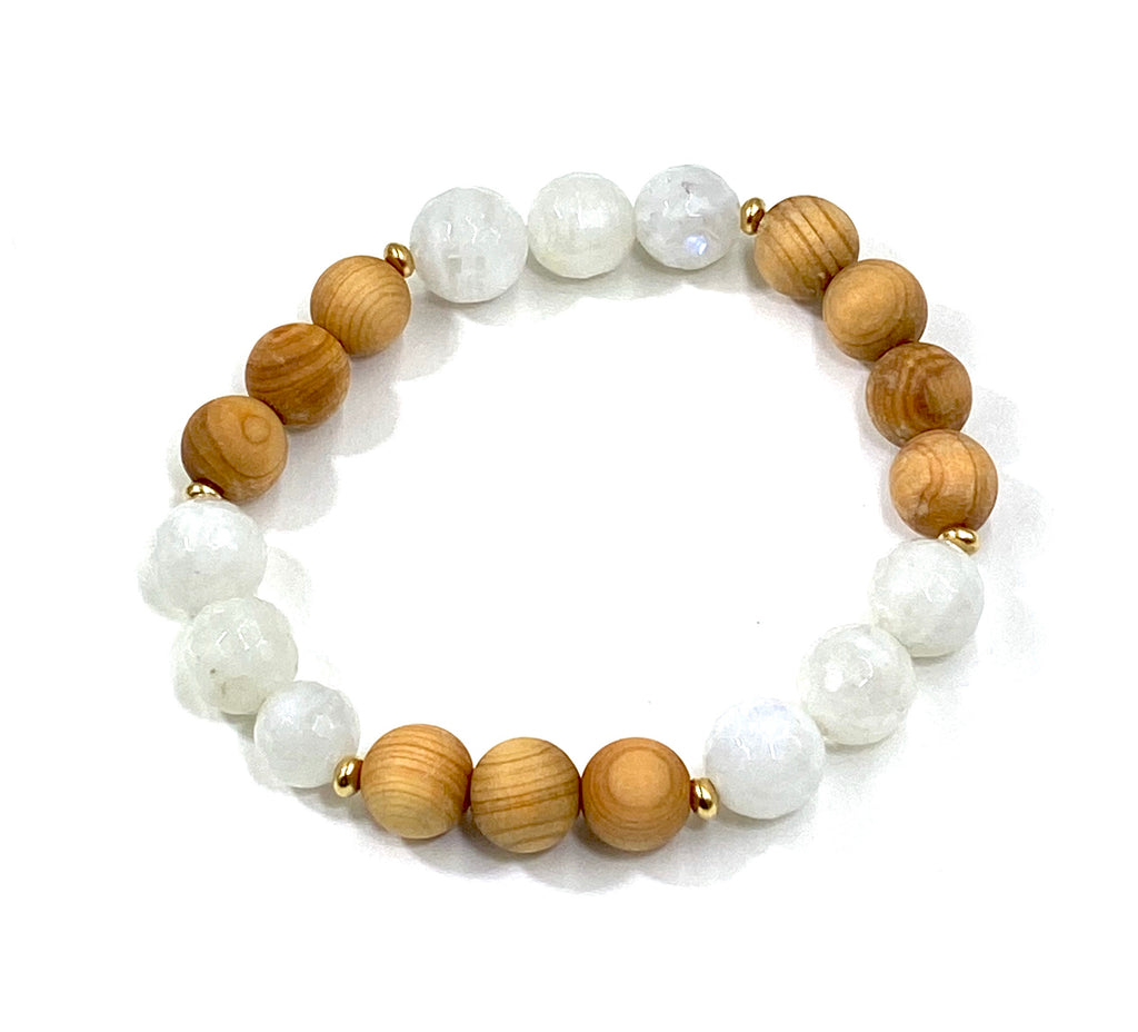 Pastel Gemstone Sandalwood Stretch Stacking Bracelet Set