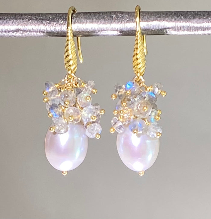 Grey Baroque Pearl Labradorite Cluster Earrings in Gold