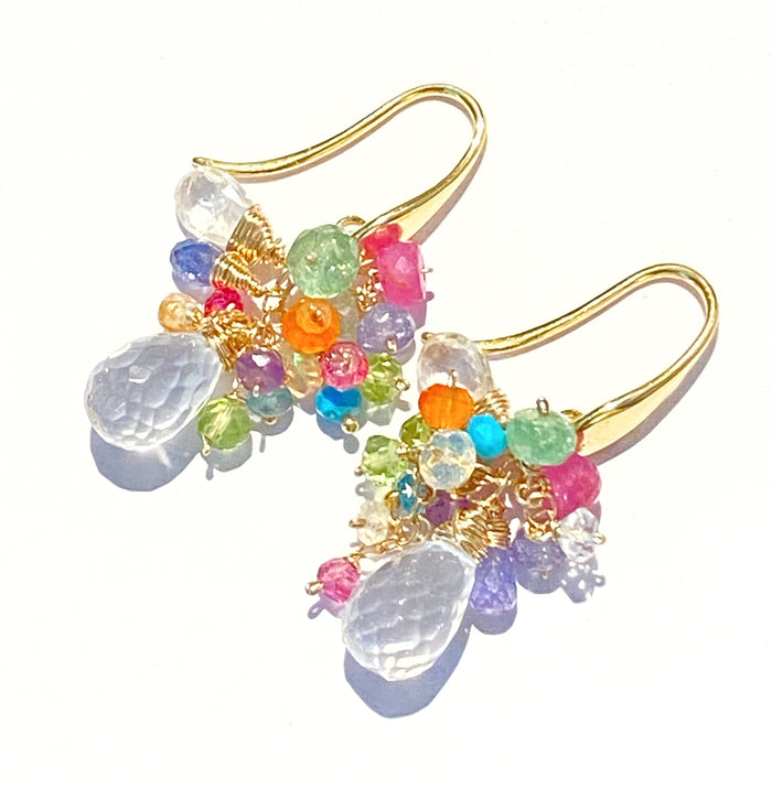 Crystal Quartz Dangle Earrings with Multi Gemstone Cluster