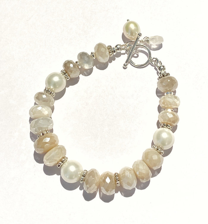 Mystic Moonstone, Pearl and Sterling Silver Layering Bracelet