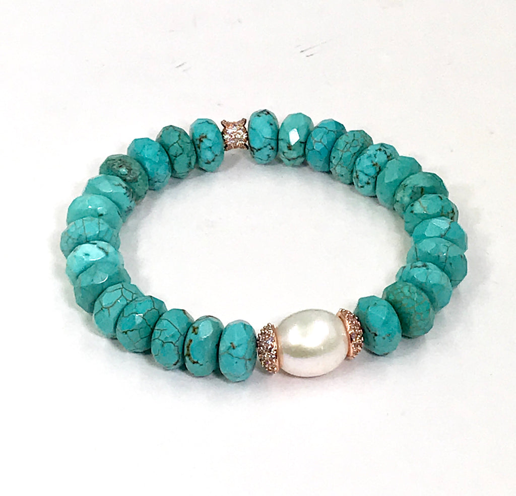 Turquoise Stretch Bracelet Set of 2 Rose Gold Pave CZ - doolittlejewelry