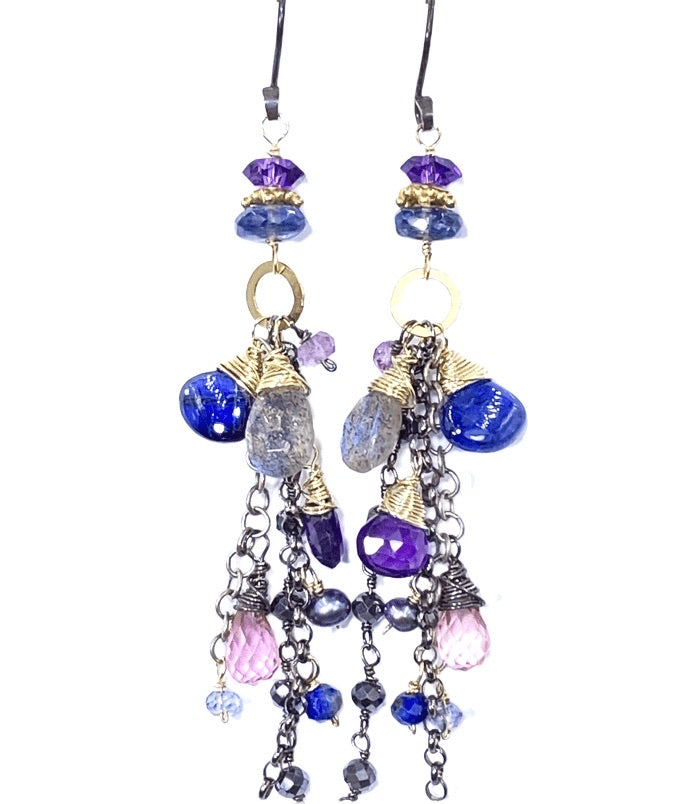 Amethyst Blue Violet Mixed Metal Boho Dangle Earrings