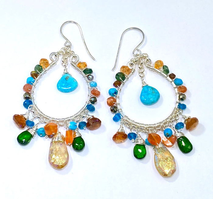 Multi-color Gemstone Hoop Earrings Sterling Silver Mystic Citrine Hessonite Turquoise - doolittlejewelry
