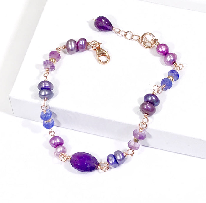 Amethyst Tanzanite Rose Gold Filled Bracelet Wire Wrapped Pearls