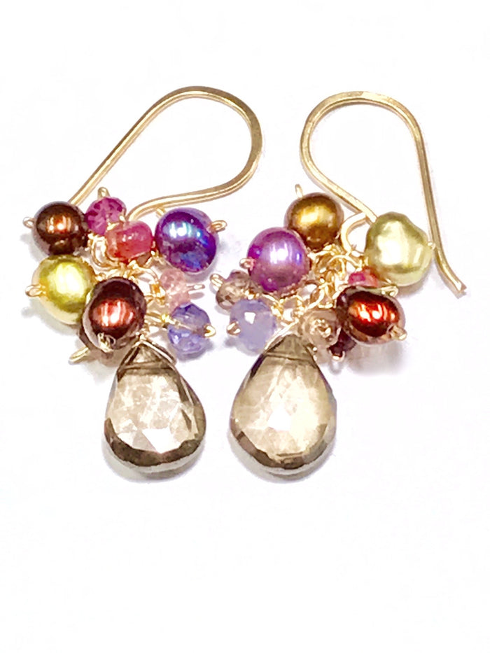 Colorful Pearl and Gemstone Cluster Earrings Smokey Quartz