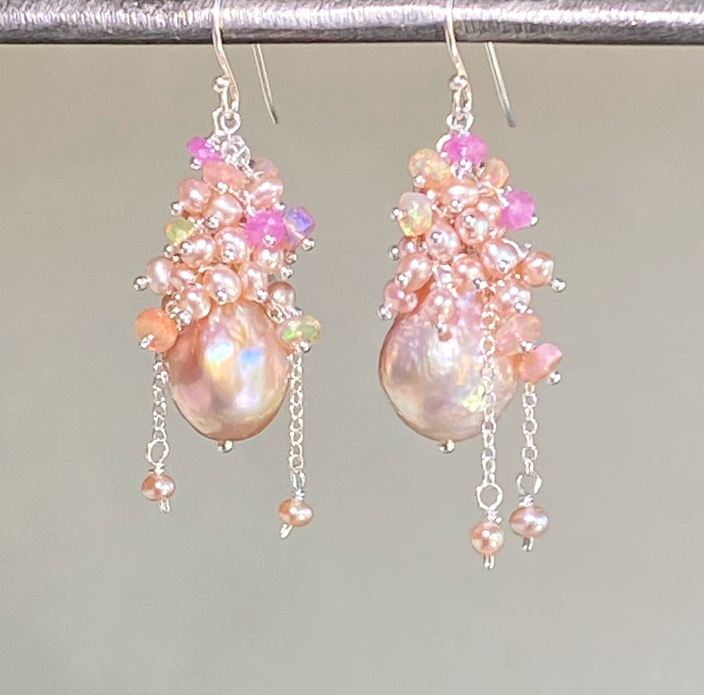 Pink Blush Baroque Pearls Opal, Sapphire Pearl Cluster Earrings
