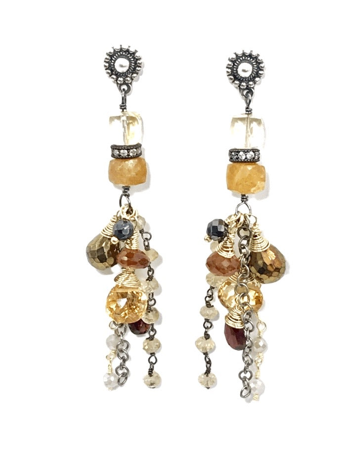 Citrine Garnet Mixed Metal Long Boho Dangle Earrings Oxidized Silver Gold Fill