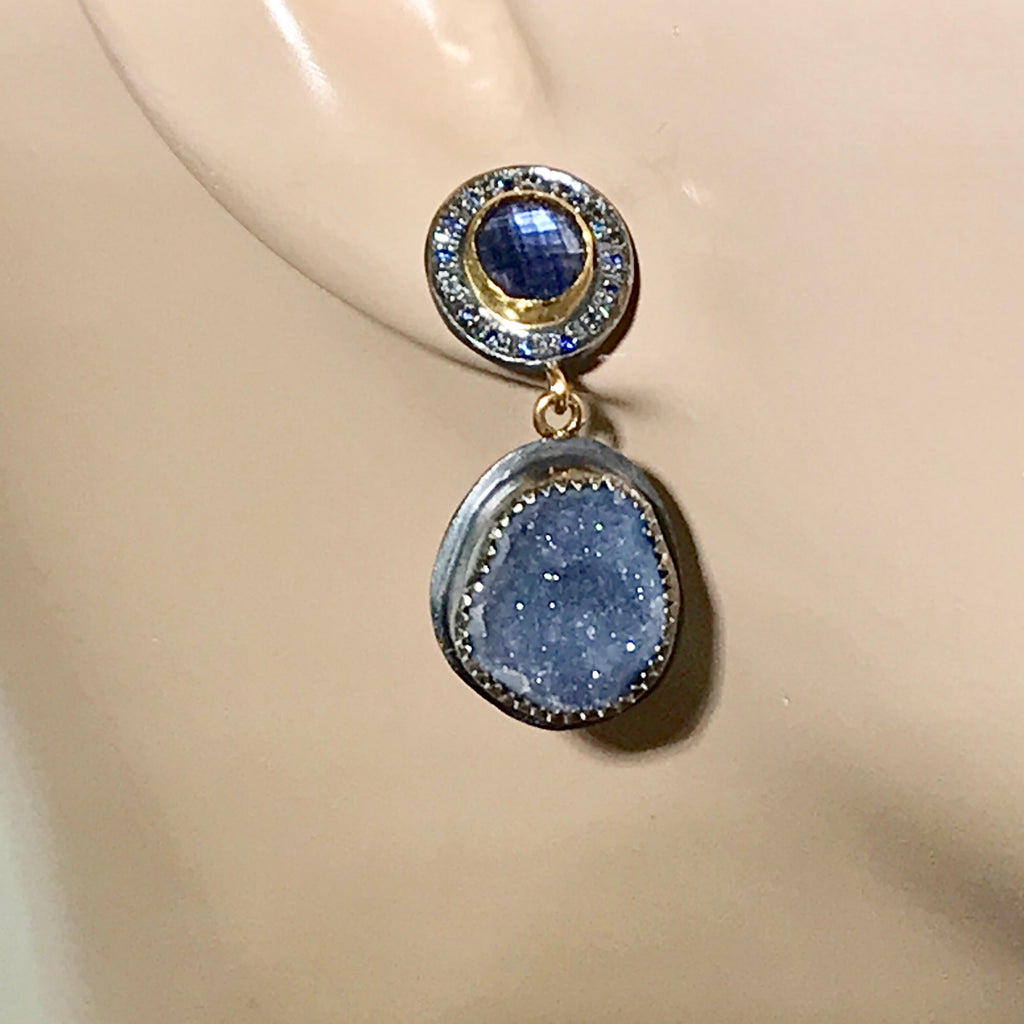Tanzanite and Blue Geode Earrings with Pave Blue Sapphire Mixed Metal - doolittlejewelry