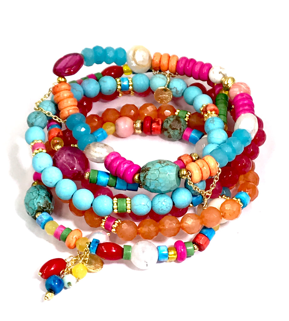 Stretch Bracelet Stack Set of 6 Beachy Boho Bright Color Stackable - doolittlejewelry