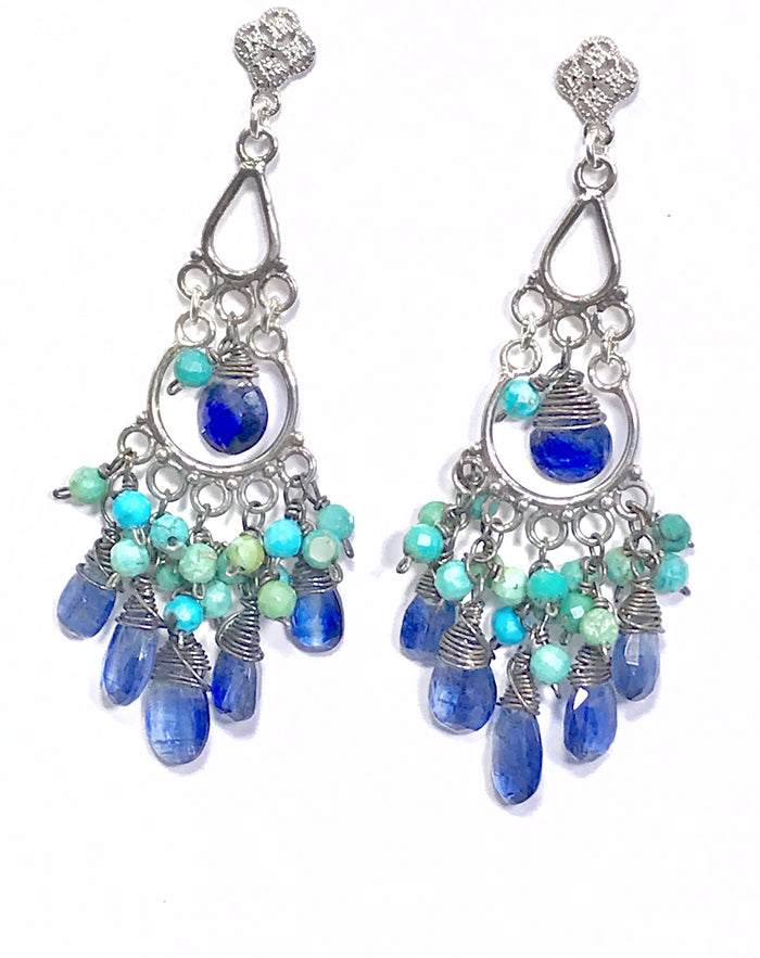 Kyanite, Turquoise Chandelier Earrings Sterling Silver