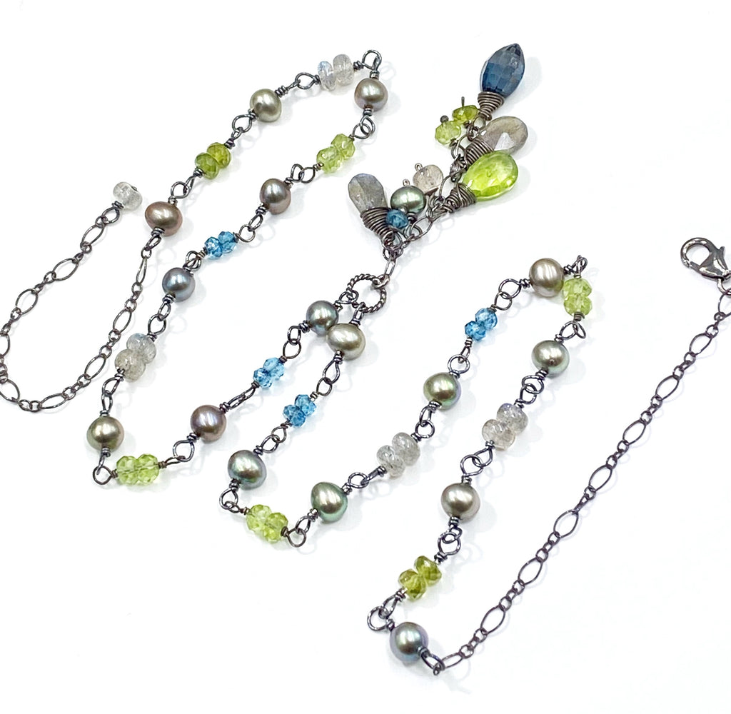 Gemstone Pearl Wire Wrapped Dangle Necklace Labradorite, Peridot, London Blue Topaz