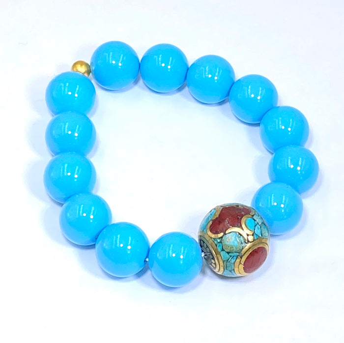 Turquoise Stretch Stacking Bracelet with Tibetan Bead - doolittlejewelry